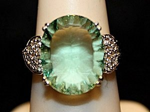 Fancy Green Lab Alexandrite SS Ring. (544L)