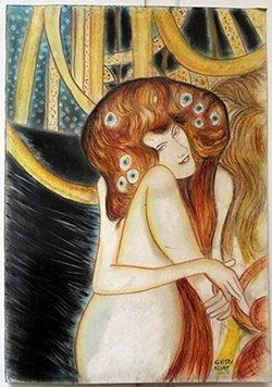 Pastel Painting on Paper Gustav Klimt