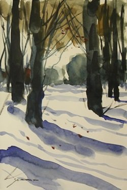 """Original Watercolor on Paper """"Winters Evening"""" by"""