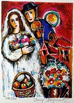 """Serigraph """"Lovers with Bouquet"""" by Zamy Steynovits"""