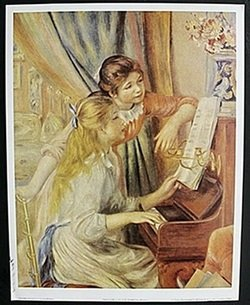 """Lithograph """"Two Girls at the Piano"""" after Auguste"""
