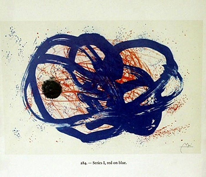 """Print """"Red on Blue"""" by Joan Miro"""