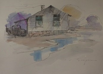 """Original Ink & Watercolor on Paper """"Home for the Night"""""""