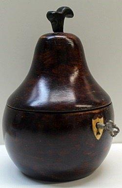 Hand Carved Antique Dark Wood Pear Lockbox w/Key