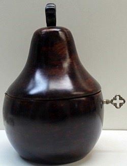 Hand Carved Antique Dark Wood Pear Lockbox w/Key - 2