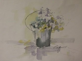 "Original Watercolor on Paper ""Flower Pale"" by Michael"