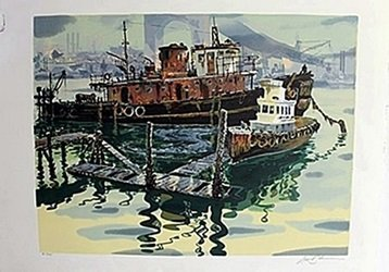 "Serigraph ""San Fransisco Docks""  David Roloiomous"
