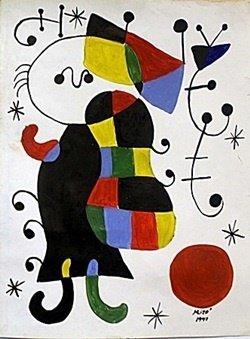 Oil Painting on Paper -  Joan Miro