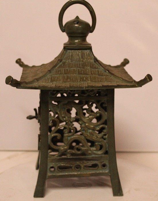 Patina Bronze Asian Deco Candle Holder Sculpture