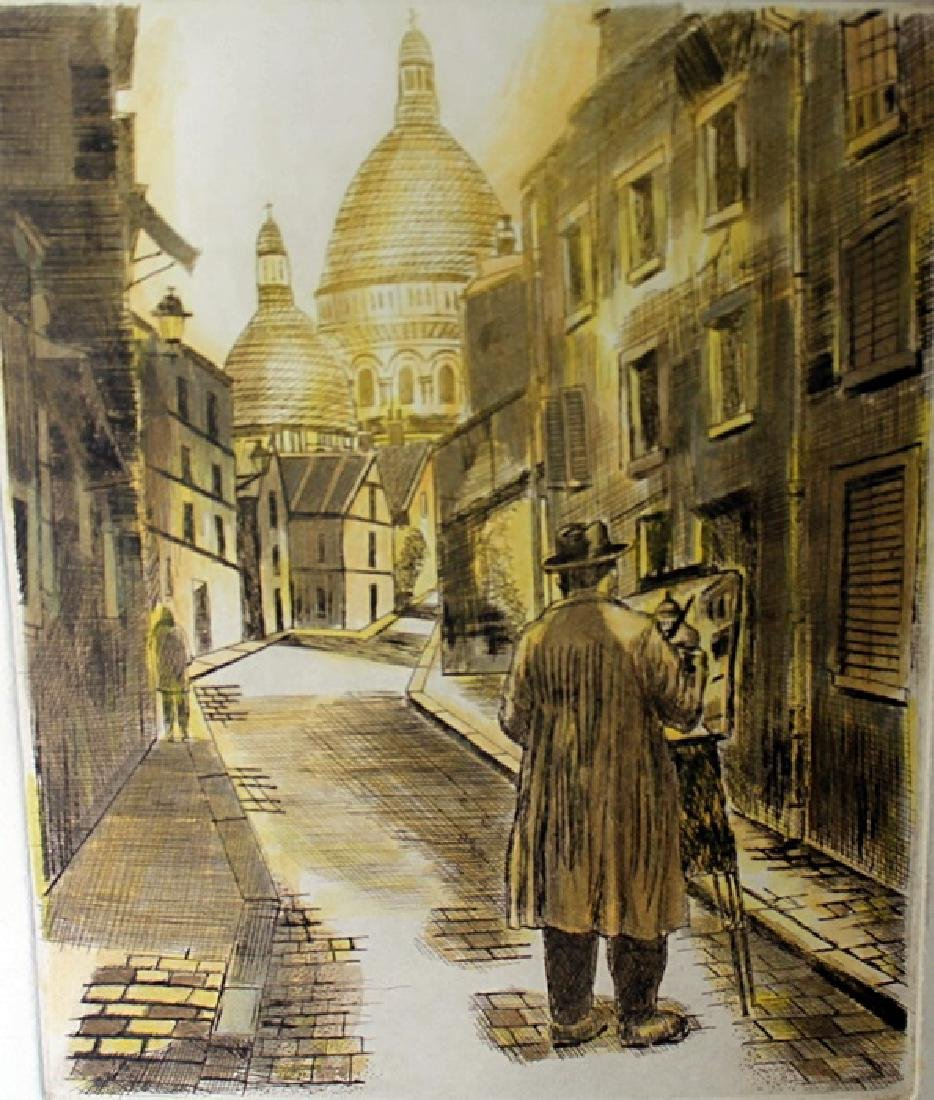 """""""Artist of Montmartre"""" Embossed Etching by George"""