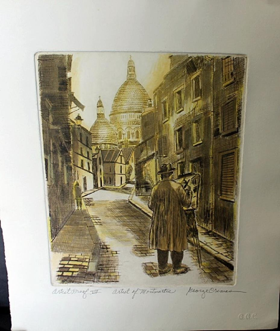 """""""Artist of Montmartre"""" Embossed Etching by George - 2"""