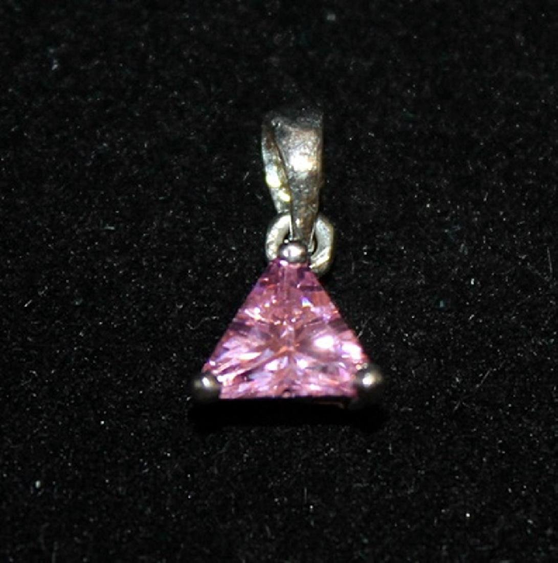 Elegant Pink Lab Sapphire Silver Pendant (34P)