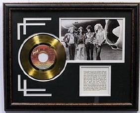 """""""Fool in The Rain"""" Led Zeppelin Gold Record with"""