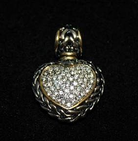Dazzling 14kt Gold over Silver Mix Heart White