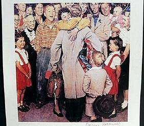 "Lithograph ""Home Safe"" after Norman Rockwell"