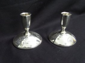 Pair Gorham Sterling Console Candleholders