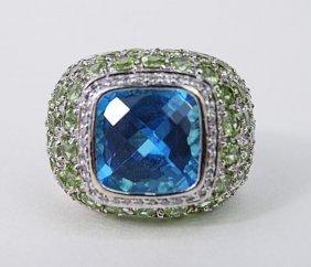 14k White Gold Blue Topaz Peridot Ring
