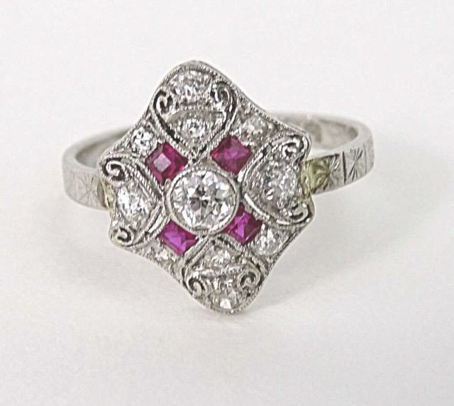 Art Deco Platinum Diamond Ruby Ring