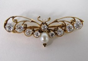 Antique Gold Diamond Pearl Butterfly Pin