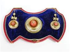 Victorian Egyptian Revival Earring/Pin Set in Box