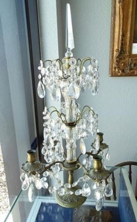 Pair (2) Five Arm Brass And Crystal Candelabra