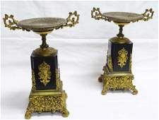 Pair (2) French Bronze Mounted Marble Tazzas