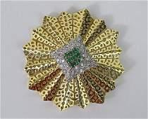 18K Yellow Gold Emerald Diamond Pin/Pendant
