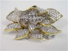 18K Yellow Gold Diamond Flower Clip