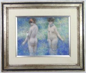 Andre Gisson Painting, Two Female Nudes