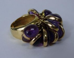 14k Yellow Gold Amethyst Dangle Ring