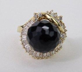 14k Yellow Gold Onyx Diamond Ladies Ring