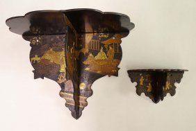 Two Japanese Lacquered Folding Wall Brackets