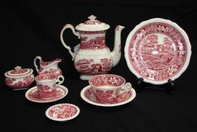 Spode Pink Tower Porcelain Luncheon Service