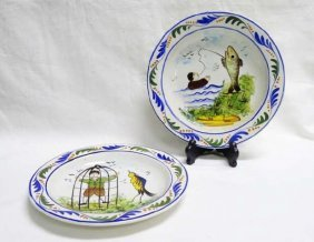 Two Faience Picture Plates Quimper Style