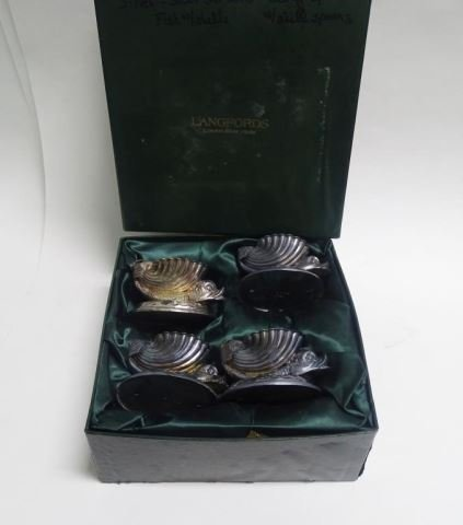 Set of 4 English Plated Open Salts, Dolphin/Shell