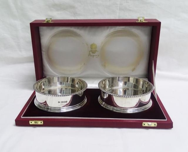 Pair Asprey Sterling Wine Coasters in Box
