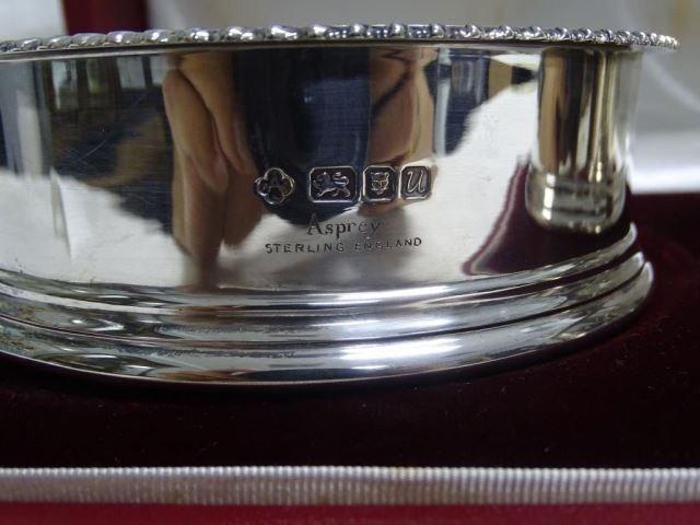 Pair Asprey Sterling Wine Coasters in Box - 2