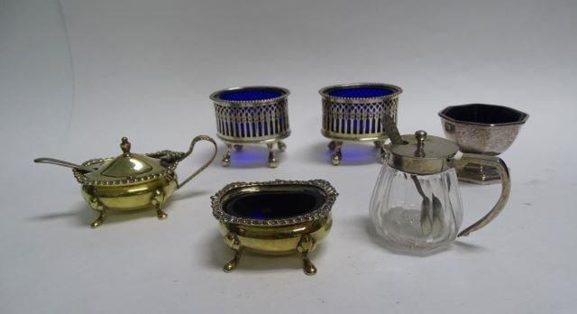 Six English Sheffield Cobalt Glass Open Salts