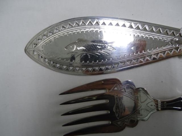 Three Sets English Plated Fish Serving Utensils - 2