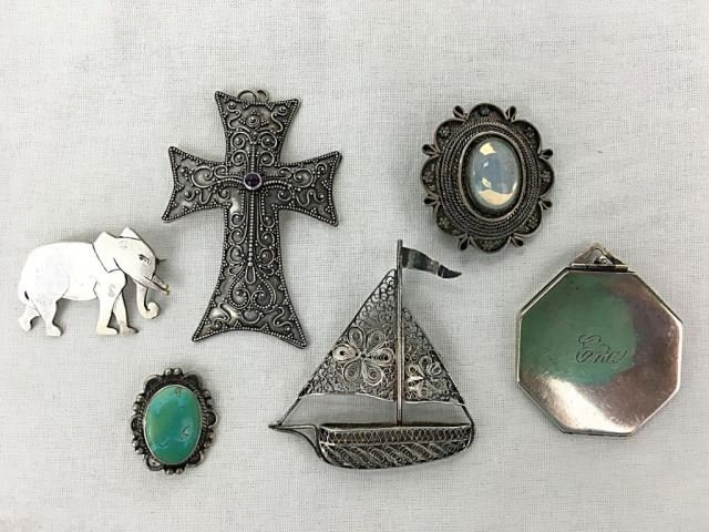 Six Assorted Sterling Pins & Lockets