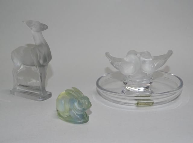 Three Rare  Art Glass, Lalique and Sabino