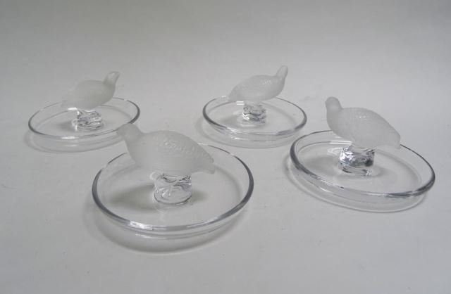 Set of Four Lalique Crystal Pin Dishes, Quail