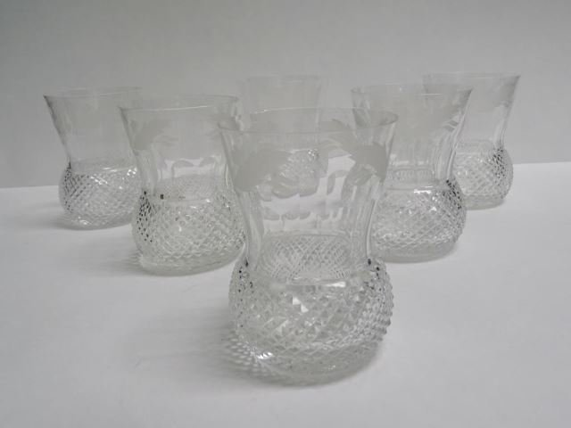 Set of 6 Etched Thistle Crystal Tumblers