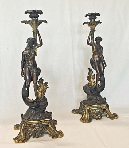 Pair (2) Antique Bronze Classical Figure Candle Holders