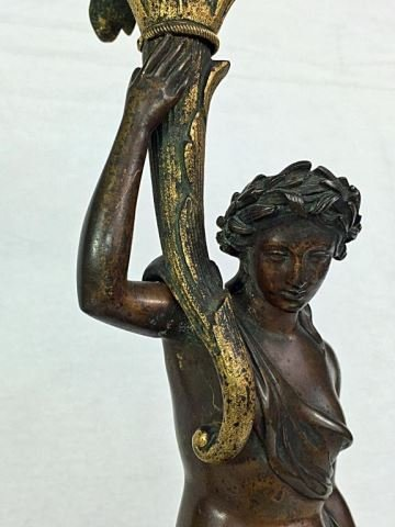 Pair (2) Antique Bronze Classical Figure Candle Holders - 2