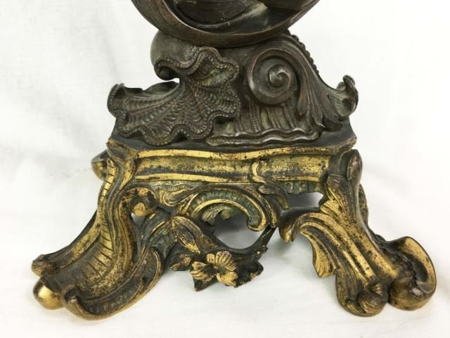 Pair (2) Antique Bronze Classical Figure Candle Holders - 4