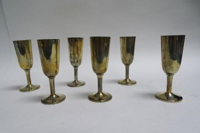 Set of 6 Fisher Sterling Cordial Glasses