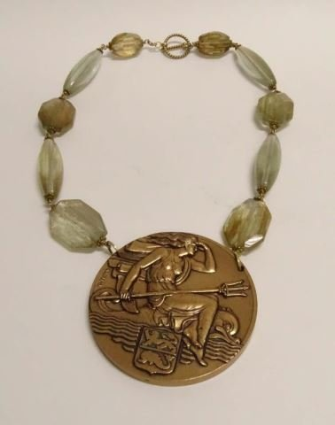 French Bronze Medallion (Dunkerque) Necklace
