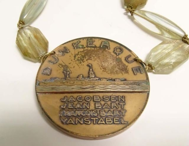 French Bronze Medallion (Dunkerque) Necklace - 3