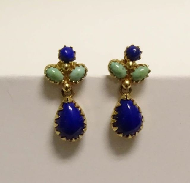 14K Yellow Gold Lapis and Turquoise Earrings